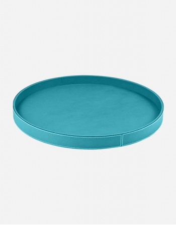 Leather Round Tray - Made in Italy - Giobagnara