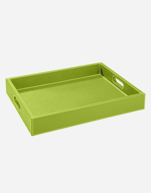 Leather Rectangular Tray With Handles - Made in Italy