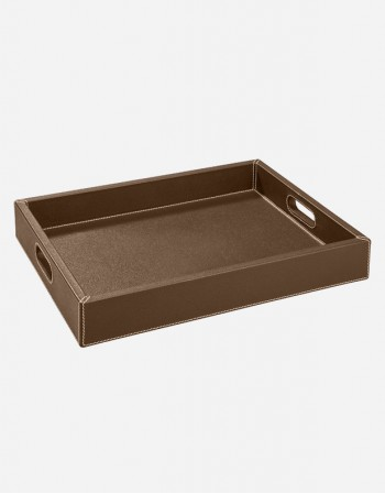 Leather Rectangular Tray With Handles - Made in Italy - Giobagnara