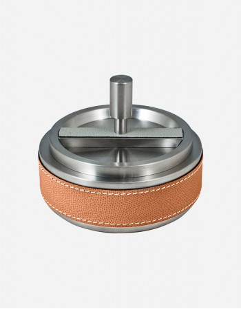 Leather Revolving Ashtray - Made in Italy - Giobagnara