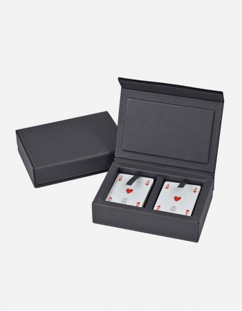 Leather Rectangular Playing Card Box - Made in Italy - Giobagnara