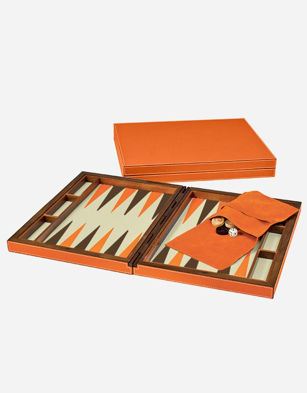 Leather Backgammon Set Case - Made in Italy Giobagnara