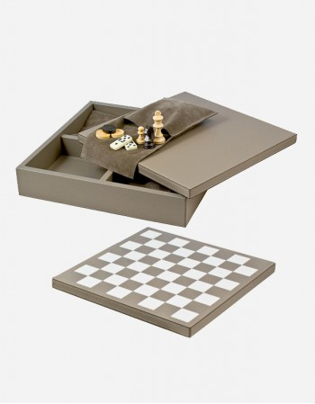 Leather Triple Game Case: Chess - Dominoes - Draughts - Made in Italy - Giobagnara