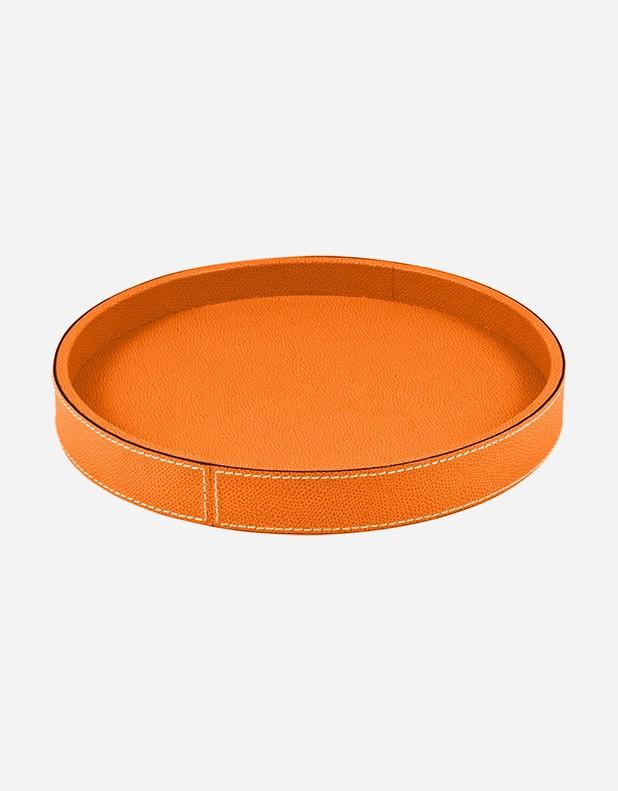 Leather Round Valet Tray Handmade In Italy Giobagnara