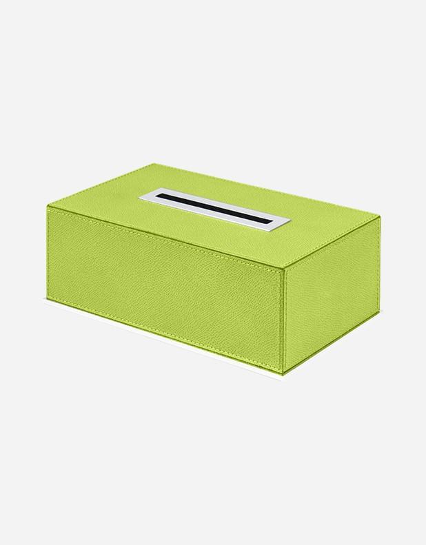 Leather Rectangular Kleenex Box with Palladium Finishing - Made in Italy