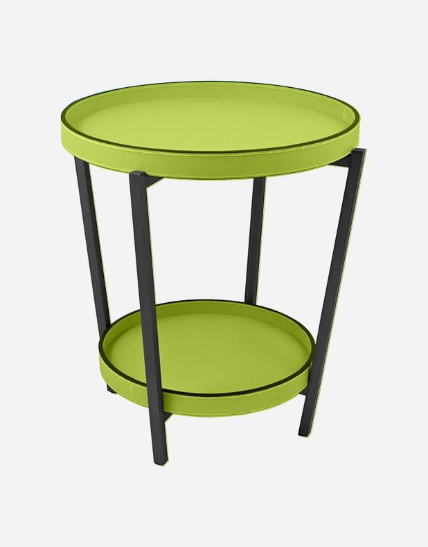 Tavolino Pieghevole in Pelle - 2 Vassoi - Prodotto in Italia