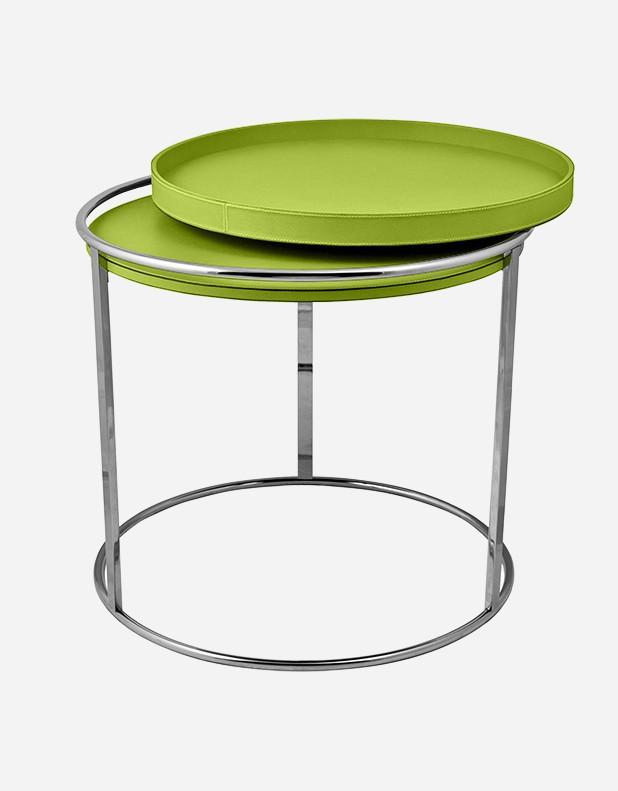 Tavolino Rotondo in Pelle - Prodotto in Italia