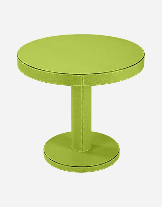 Leather Round Cofee Table - Made in Italy