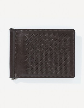 Hand-Woven Leather Money Clip Wallet Giulio Secco