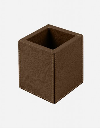Leather Square Pen Holder - Italian Design