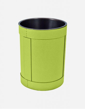 Leather Waste Paper Bin - Removable Lining Bucket - Made in Italy - Giobagnara