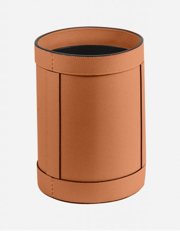 Leather Round Waste Paper Bin - Made in Italy - Giobagnara