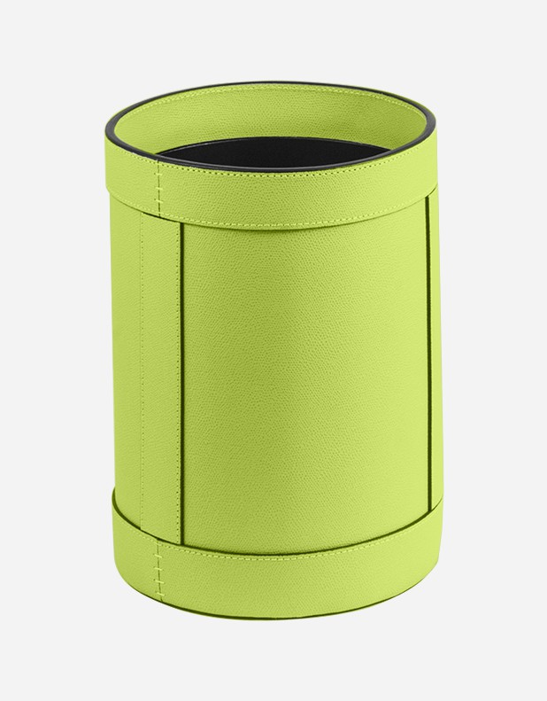 Leather Round Wastepaper Bin - Made in Italy