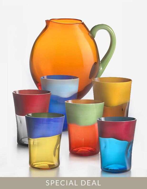Set 6 Bicchieri Dandy e Caraffa