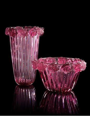 Rose Vase - Murano Glass - Fornace Mian
