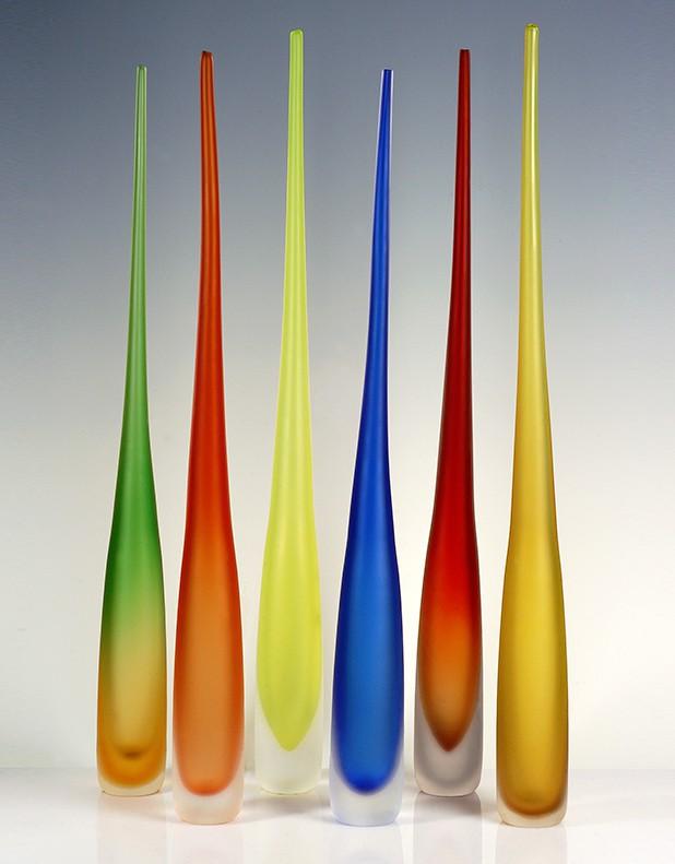 Flute Satinated Vase Handmade In Murano Fornace Mian