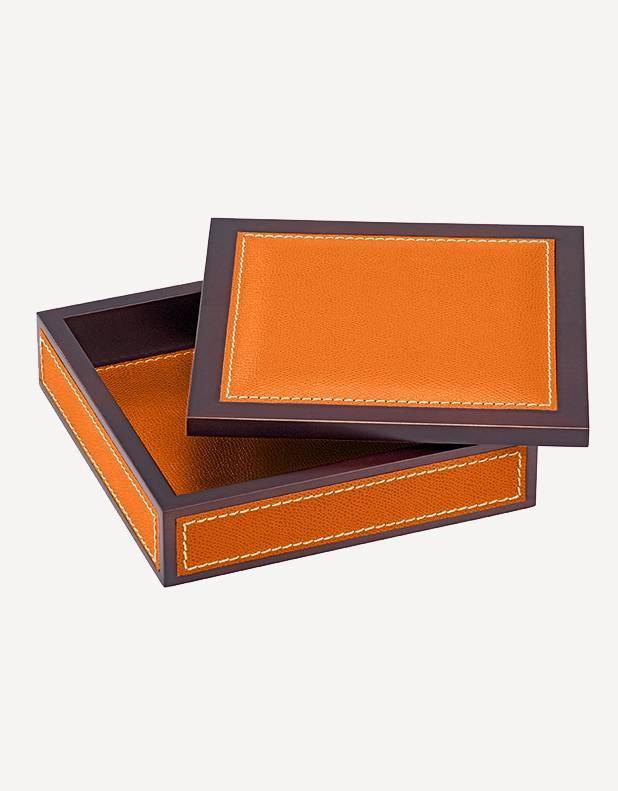 Milano Leather Square Box - Made in Italy - Giobagnara
