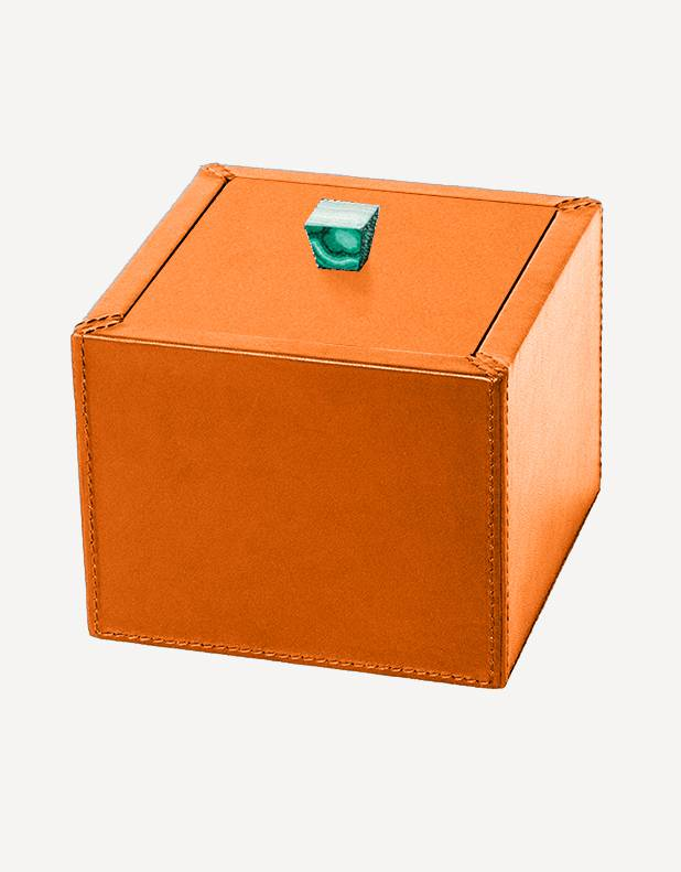 Petra Leather Square Box - Made in Italy - Giobagnara