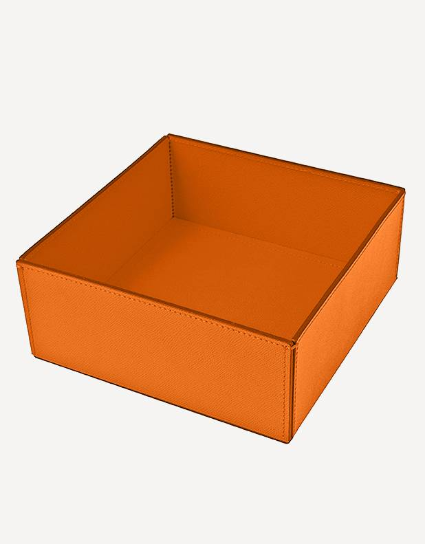 Marea Leather Square Basket - Made in Italy - Giobagnara