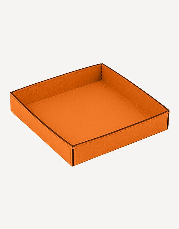 Marea Low Leather Square Basket - Made in Italy - Giobagnara