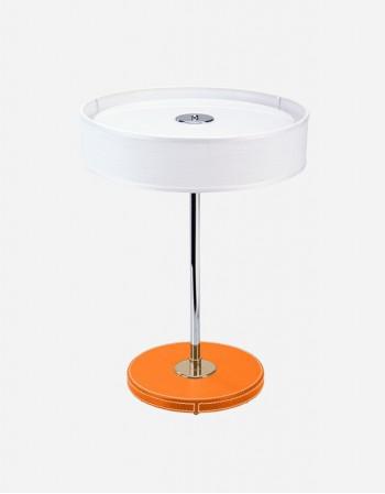 Lampada da Tavolo Rotonda in Pelle - Prodotto in Italia - Giobagnara