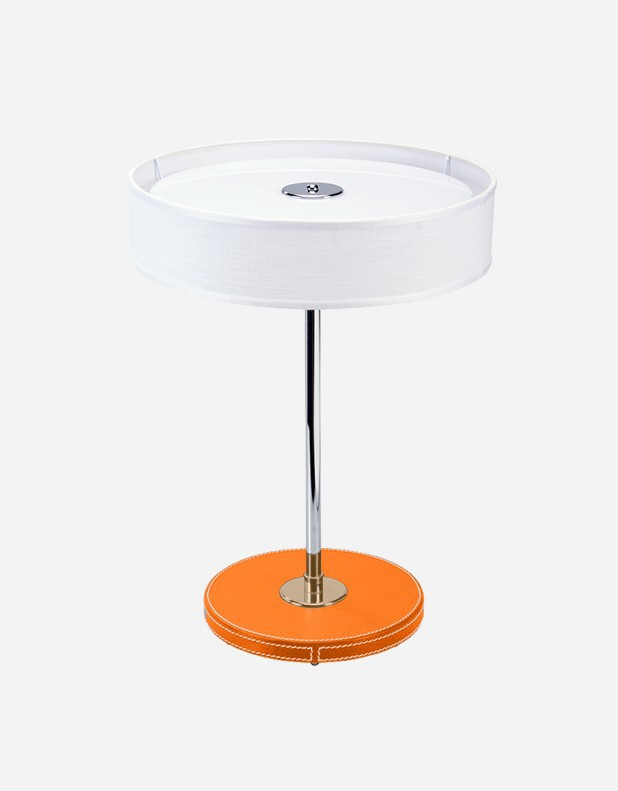 Leather Round Table Lamp - Made in Italy