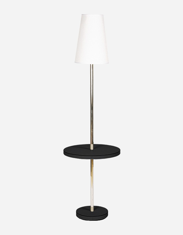 Leather Table with Lamp - Made in Italy