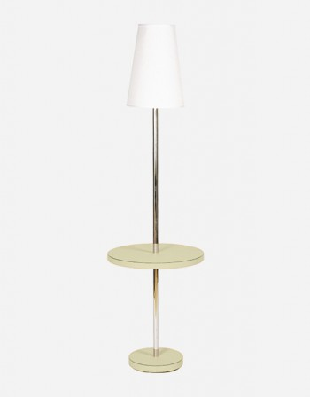 Leather Small Table with Lamp - Made in Italy - Giobagnara