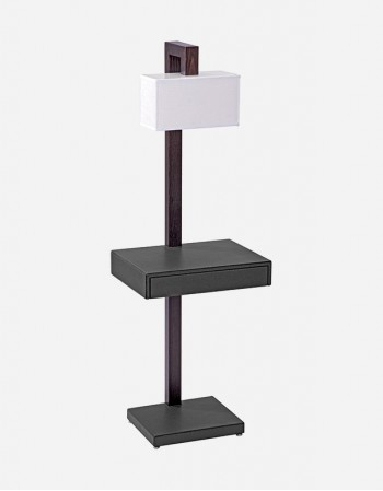 Leather Floor Lamp With Table and Drawer - Made in Italy