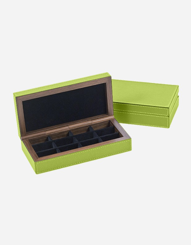 Leather Cufflinks Box - Made In Italy