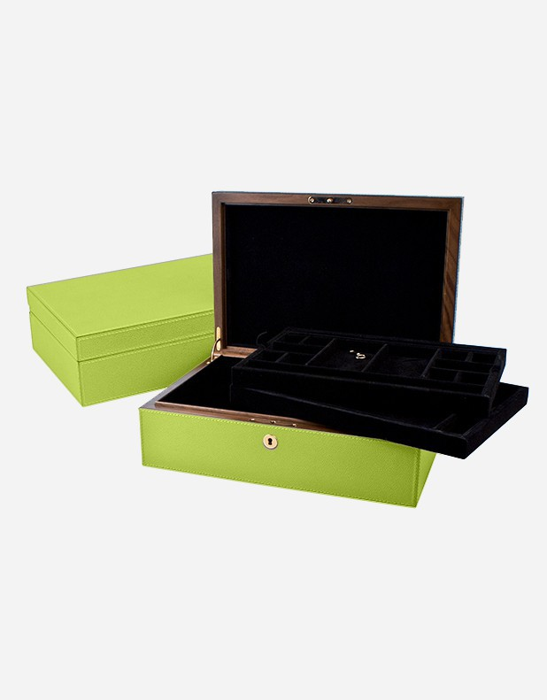 Leather Jewellery Box - 2 Trays - Made in Italy