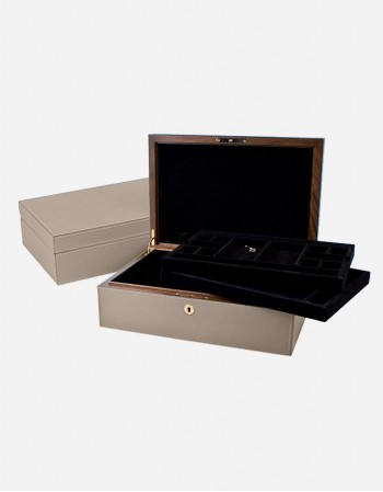 Leather Jewelery Box/2 Trays - Made in Italy - Giobagnara