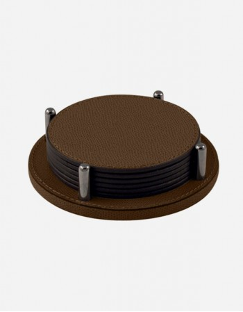 Set Leather Round Coaster Holder - Made in Italy - Giobagnara