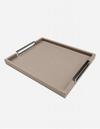 Leather Tray with Chrome plated Handles - Made in Italy - Giobagnara