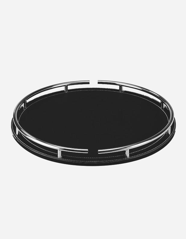Leather Round Tray With Chrome Finish Giobagnara