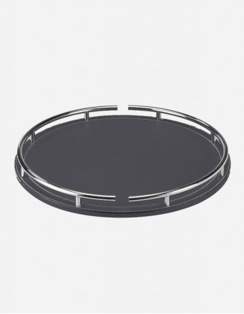 Leather Round Tray With Chrome Finish - Made in Italy - Giobagnara