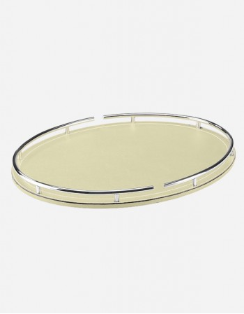 Leather Oval Tray With Chrome Finishes - Made in italy - Giobagnara