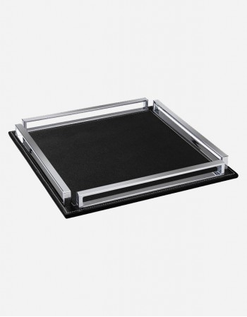 Leather Square Tray With Chrome Finish - Made in Italy - Giobagnara