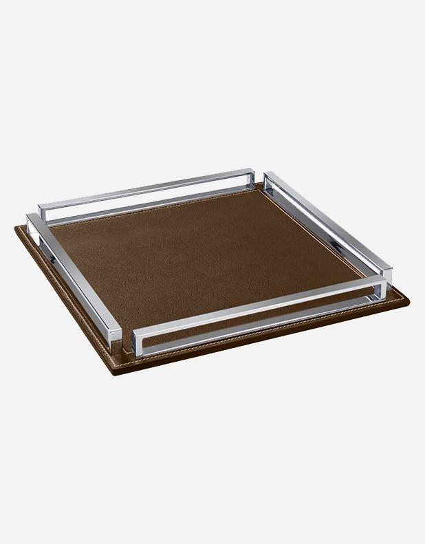 Squared Leather Tray Giobagnara