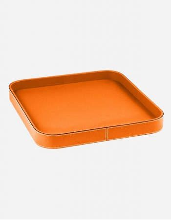 Leather Square Tray - Made in Italy - Giobagnara